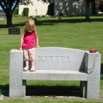 Bella on Kittel bench in Salem, Oregon 2006